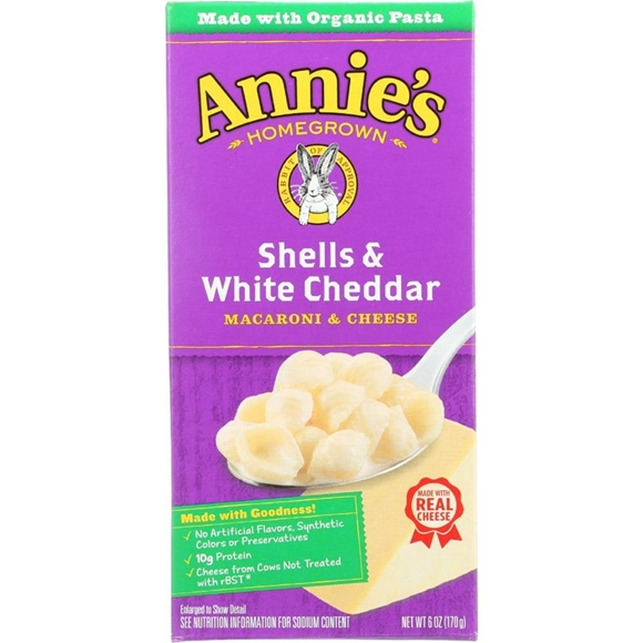 Picture of 12 Pack Annie's Homegrown - Shells & White Cheddar ( 12 - 6 OZ)